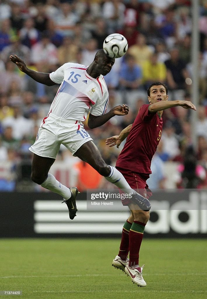 <a gi-track='captionPersonalityLinkClicked' href=/galleries/search?phrase=Lilian+Thuram&family=editorial&specificpeople=211248 ng-click='$event.stopPropagation()'>Lilian Thuram</a> (L) of France rises above <a gi-track='captionPersonalityLinkClicked' href=/galleries/search?phrase=Pauleta&family=editorial&specificpeople=227977 ng-click='$event.stopPropagation()'>Pauleta</a> of Portugal, to win a header during the FIFA World Cup Germany 2006 Semi-final match between Portugal and France at the Stadium Munich on July 5, 2006 in Munich, Germany.