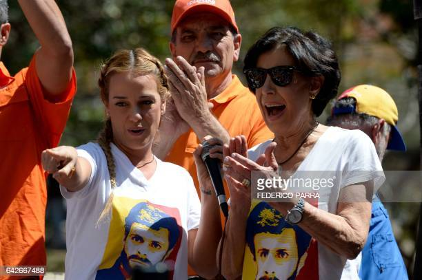 Lilian Tintori and Antonieta Mendoza de Lopez wife and mother of imprisoned Venezulan opposition leader Leopoldo Lopez respectively take part in a...