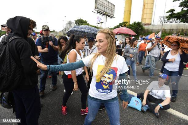 Lilian Tintori wife of imprisoned Venezuelan opposition leader Leopoldo Lopez participates in a protest against the government of President Nicolas...