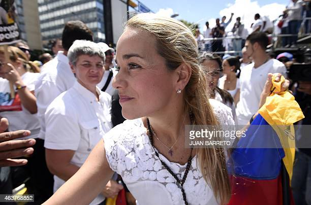 Lilian Tintori wife of jailed opposition leader Leopoldo Lopez is seen during a demonstration in Caracas on February 18 2015 Venezuelan opposition...