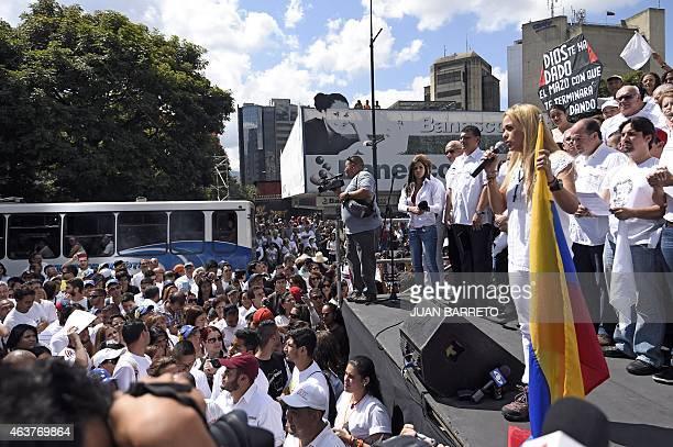 Lilian Tintori wife of jailed opposition leader Leopoldo Lopez speaks during a demonstration in Caracas on February 18 2015 Venezuelan opposition...