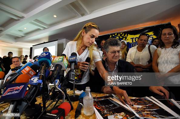 Lilian Tintori wife of jailed Venezuelan opposition leader Leopoldo Lopez attends a press conference next to the Secretary General of the Democratic...