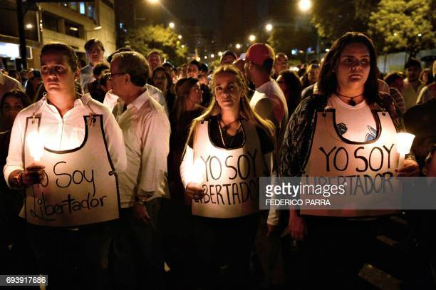 Lilian Tintori wife of jailed Venezuelan opposition leader Leopoldo Lopez takes part in a protest against the death on the eve of young activist...