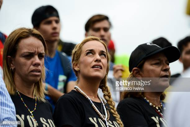 Lilian Tintori wife of jailed Venezuelan opposition leader Leopoldo Lopez takes part in the 'MArch for faith' rally to protest against the government...