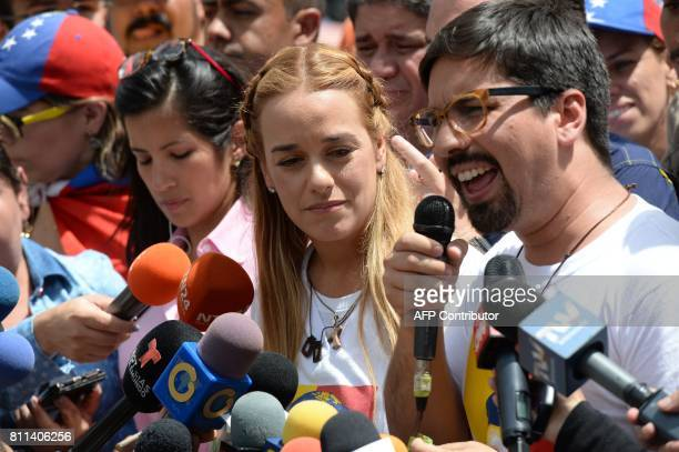 Lilian Tintori wife of Venezuelan political prisoner and opposition leader Leopoldo Lopez listens to the vicepresident of the National Assembly...