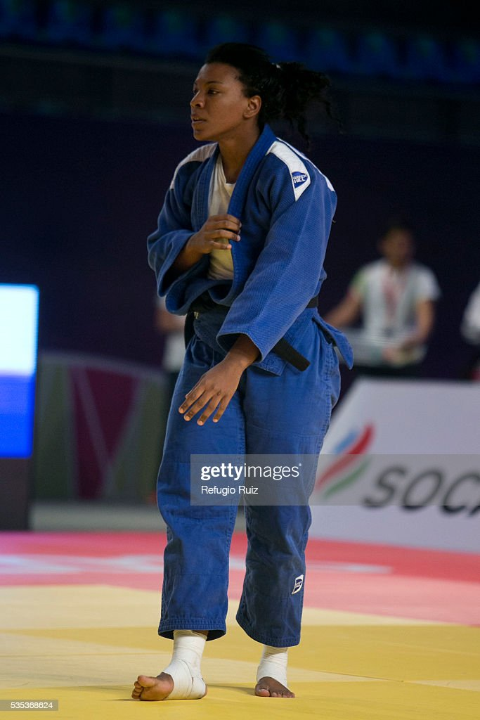 Liliana Cardenas (blue) of Mexico during the women's -78kg fight as part of the World Judo Masters Guadalajara 2016 at Adolfo Lopez Mateos Sports Centre on May 28, 2016 in Gudalajara, Mexico.