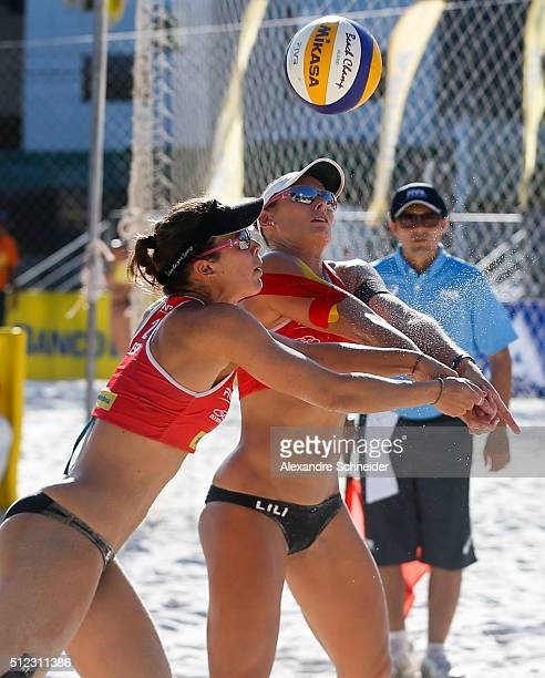 Liliana Fernandez and Elsa Baquerizo of Spain compete in the main draw match against the United States at Pajucara beach during day three of the FIVB...