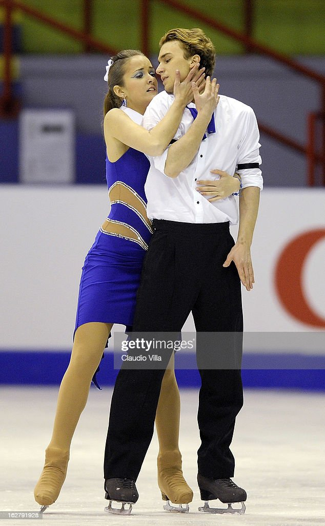 Liliana Kiraly and Szabolcs Nagy of Hungary skate in the Ice Dance Short Dance during day 3 of the ISU World Junior Figure Skating Championships at Agora Arena on February 27, 2013 in Milan, Italy.