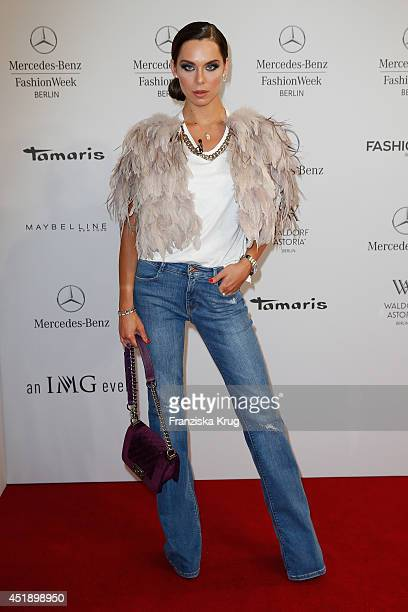 Liliana Matthaeus attends the Glaw show during the MercedesBenz Fashion Week Spring/Summer 2015 at Erika Hess Eisstadion on July 9 2014 in Berlin...