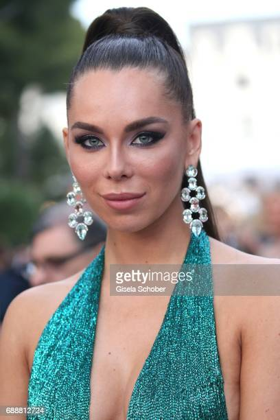 Liliana Matthaeus wearing earrings by Thomas Jirgens Juwelenschmiede during at the amfAR Gala Cannes 2017 at Hotel du CapEdenRoc on May 25 2017 in...