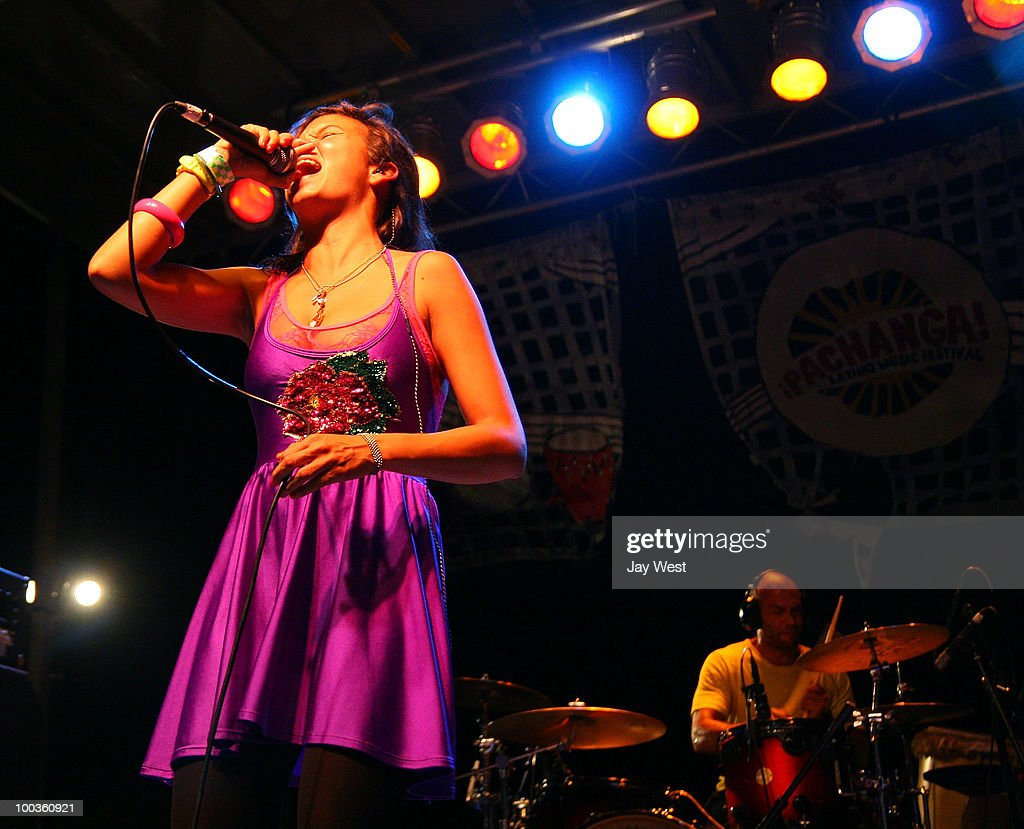 Liliana Saumet and Kike Egurrola of Bomba Estereo perform at Pachanga Latino Music Festival at Fiesta Gardens on May 22, 2010 in Austin, Texas.