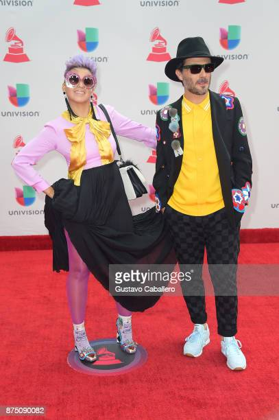 Liliana Saumet and Simon Mejia of Bomba Estereo attends the 18th Annual Latin Grammy Awards at MGM Grand Garden Arena on November 16 2017 in Las...