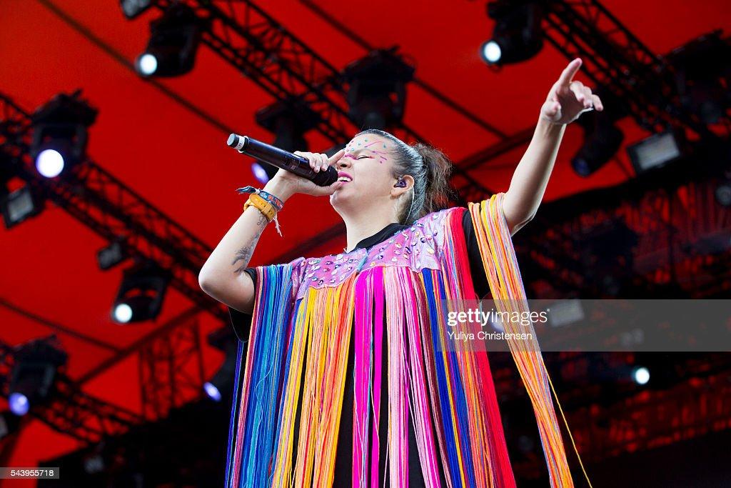 Liliana Saumet from Bomba Estereo performs at Roskilde Festival on June 30, 2016 in Roskilde, Denmark.