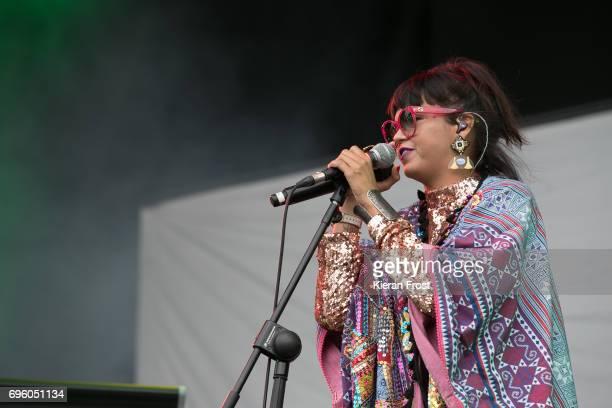 Liliana Saumet of Bomba Estereo performs at Malahide Castle on June 14 2017 in Dublin Ireland