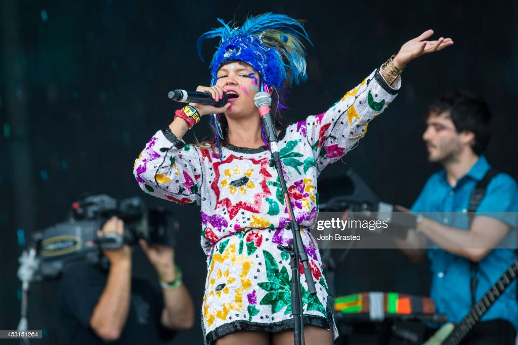 Liliana Saumet of <a gi-track='captionPersonalityLinkClicked' href=/galleries/search?phrase=Bomba+Estereo&family=editorial&specificpeople=5970048 ng-click='$event.stopPropagation()'>Bomba Estereo</a> performs during the 2014 Lollapalooza at Grant Park on August 3, 2014 in Chicago, Illinois.
