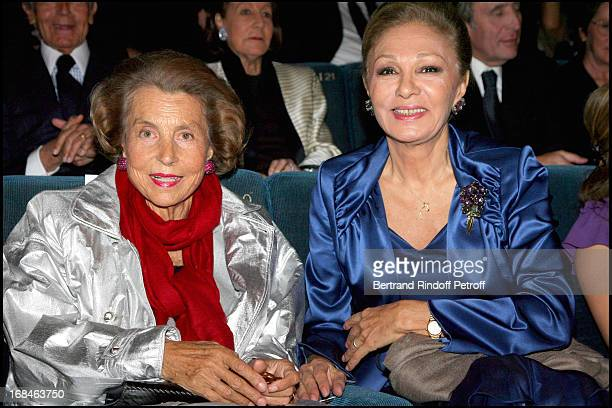 Liliane Bettencourt and Farah Diba at Premiere Of Film 'Faubourg 36' At Ugc Normandie In Benefit Of Claude Pompidou Foundation