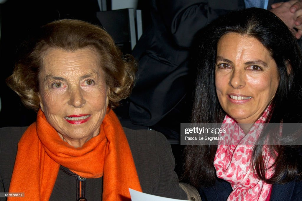 <a gi-track='captionPersonalityLinkClicked' href=/galleries/search?phrase=Liliane+Bettencourt&family=editorial&specificpeople=2343695 ng-click='$event.stopPropagation()'>Liliane Bettencourt</a> and her daughter Francoise Bettencourt-Meyers attend the Giorgio Armani Prive Haute-Couture Spring / Summer 2012 show as part of Paris Fashion Week at Grand Palais on January 24, 2012 in Paris, France.