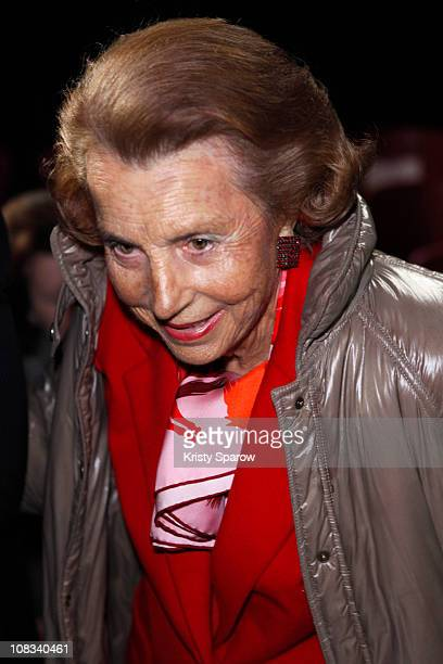 Liliane Bettencourt attends the Franck Sorbier show as part of the Paris Haute Couture Fashion Week Spring/Summer 2011 at Sotheby's on January 26...