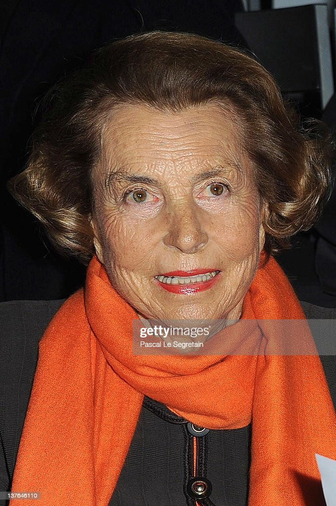 <a gi-track='captionPersonalityLinkClicked' href=/galleries/search?phrase=Liliane+Bettencourt&family=editorial&specificpeople=2343695 ng-click='$event.stopPropagation()'>Liliane Bettencourt</a> attends the Giorgio Armani Prive Haute-Couture Spring / Summer 2012 show as part of Paris Fashion Week at Grand Palais on January 24, 2012 in Paris, France.
