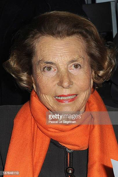 Liliane Bettencourt attends the Giorgio Armani Prive HauteCouture Spring / Summer 2012 show as part of Paris Fashion Week at Grand Palais on January...