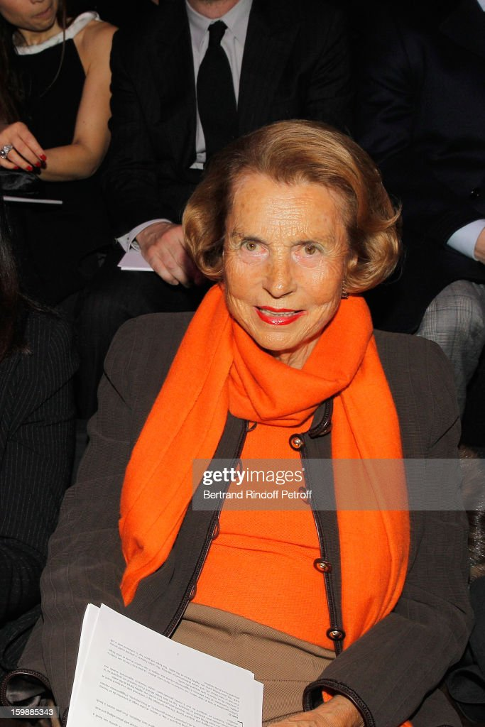<a gi-track='captionPersonalityLinkClicked' href=/galleries/search?phrase=Liliane+Bettencourt&family=editorial&specificpeople=2343695 ng-click='$event.stopPropagation()'>Liliane Bettencourt</a> attends the Giorgio Armani Prive Spring/Summer 2013 Haute-Couture show as part of Paris Fashion Week at Theatre National de Chaillot on January 22, 2013 in Paris, France.