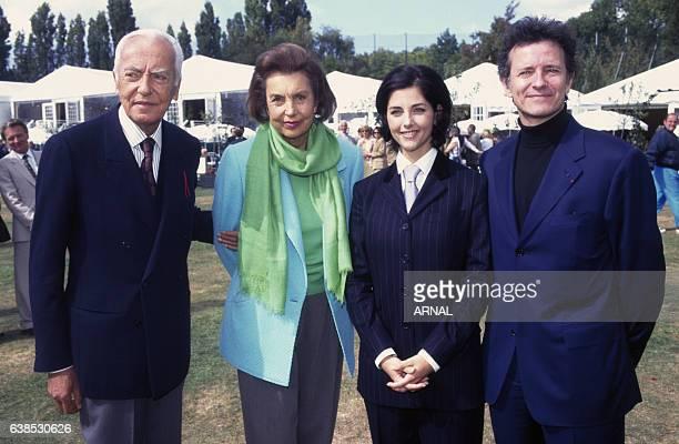 Liliane Bettencourt et son époux André Bettencourt avec Cristiana Reali et Francis Huster lors du Trophée Lancôme en septembre 1996 à...
