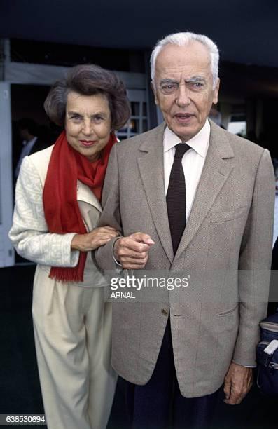 Liliane Bettencourt et son époux André Bettencourt lors du Trophée Lancôme en septembre 1992 à SaintNomlaBretèche France