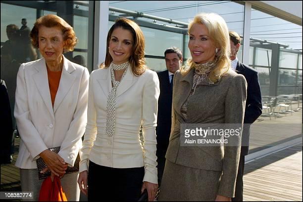 Liliane Bettencourt Queen Rania of Jordan Begum Inaara Aga Khan in Paris France on September 30 2002