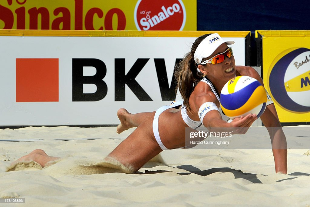 Liliane Maestrini of Brazil dives for the ball during the Lili-Seixas BRA v Ludwig-Walkenhorst semi-finals match as part of the FIVB Gstaad Grand Slam fifth day on July 13, 2013 in Gstaad, Switzerland.