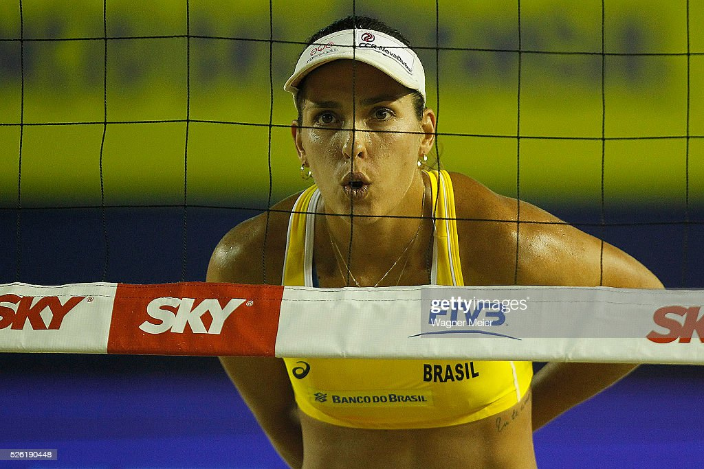 Liliane Maestrini of Brazil reacts during main draw match against United States during the FIVB Fortaleza Open on Futuro Beach on April 29, 2016 in Fortaleza, Brazil.