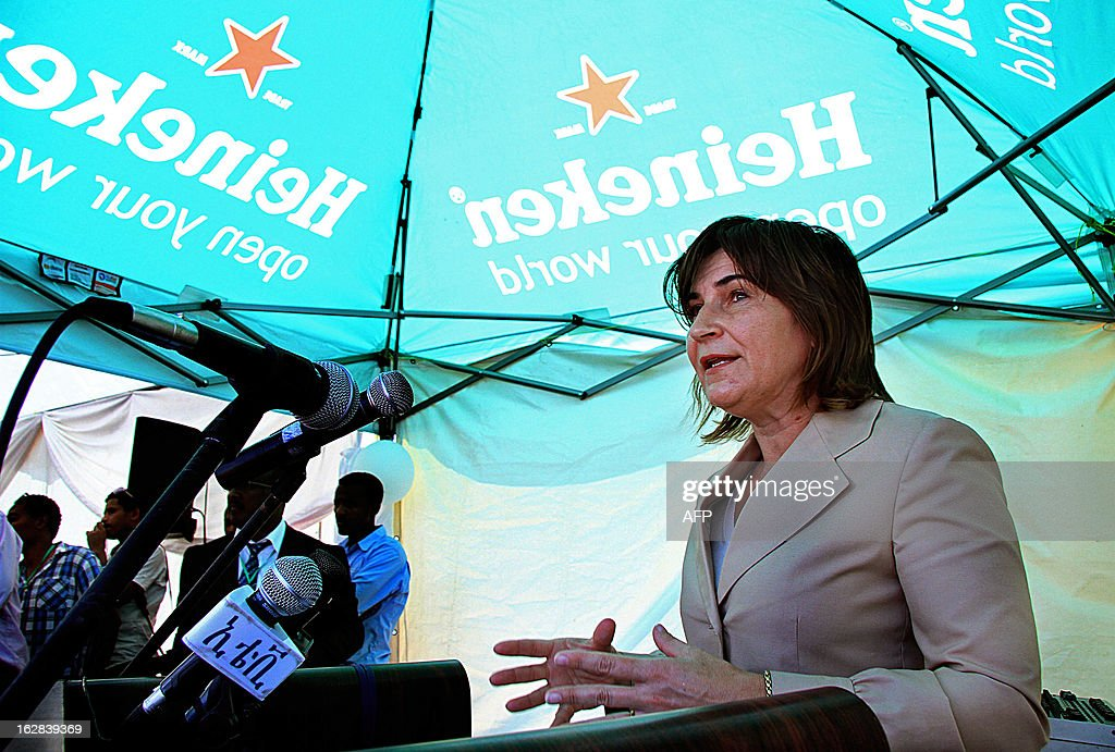 Lilianne Ploumen, Netherland Minister for foreign trade and Development speaks after officially opening the new construction site of a Heineken brewery in Killinto, Addis Ababa Municipality on February 28, 2013. AFP PHOTO/Mulugeta Ayene