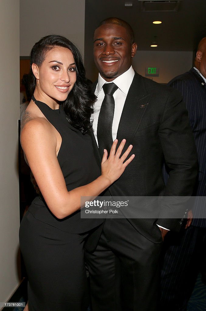 Lilit Avagyan (L) and NFL player <a gi-track='captionPersonalityLinkClicked' href=/galleries/search?phrase=Reggie+Bush&family=editorial&specificpeople=183392 ng-click='$event.stopPropagation()'>Reggie Bush</a> attend The 2013 ESPY Awards at Nokia Theatre L.A. Live on July 17, 2013 in Los Angeles, California.