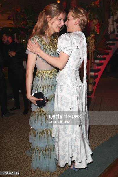 Lilith Stangenberg and Sandra Hueller during the Lola German Film Award 2017 after party at Palais am Funkturm on April 28 2017 in Berlin Germany