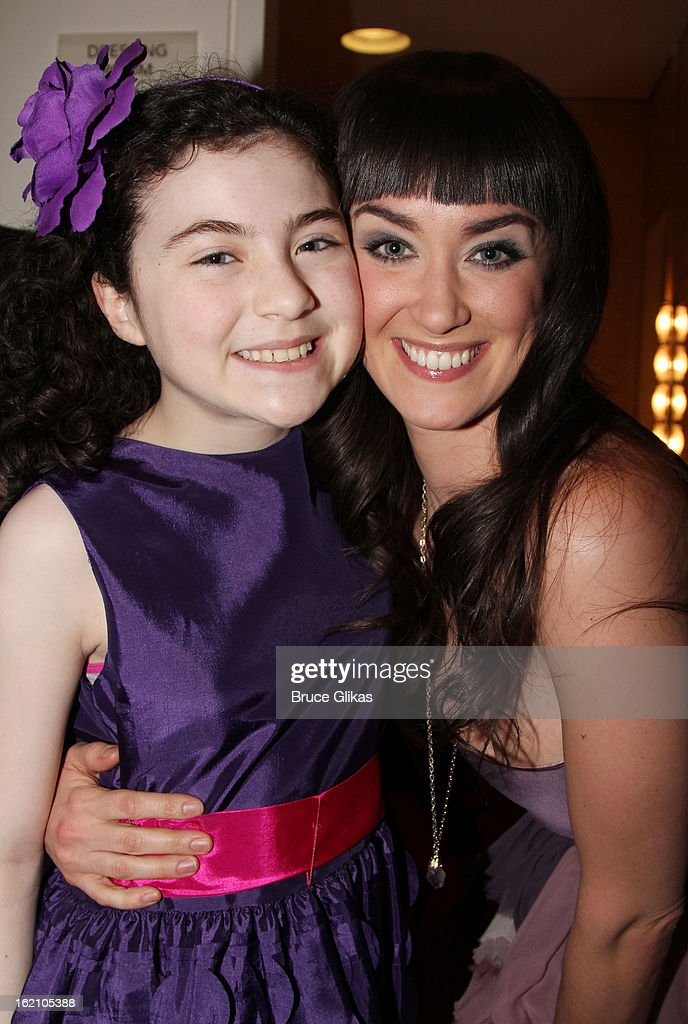Lilla Crawford and Brynn O'Malley pose backstage at 'Ragtime' on Broadway at Avery Fisher Hall on February 18, 2013 in New York City.