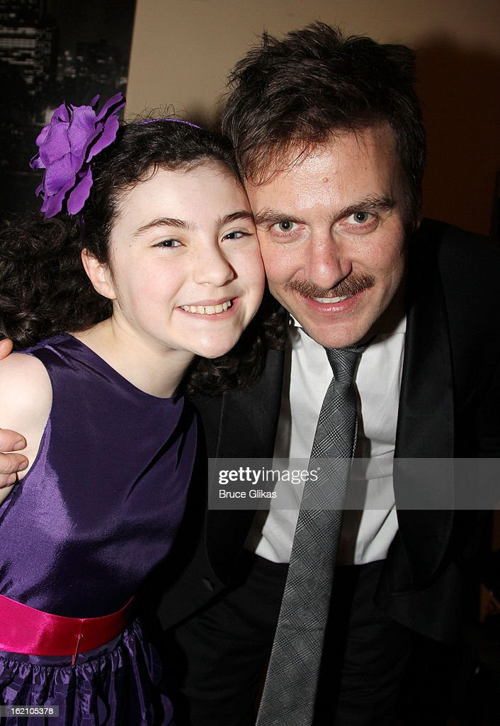 Lilla Crawford and Manoel Felciano pose backstage at 'Ragtime' on Broadway at Avery Fisher Hall on February 18, 2013 in New York City.