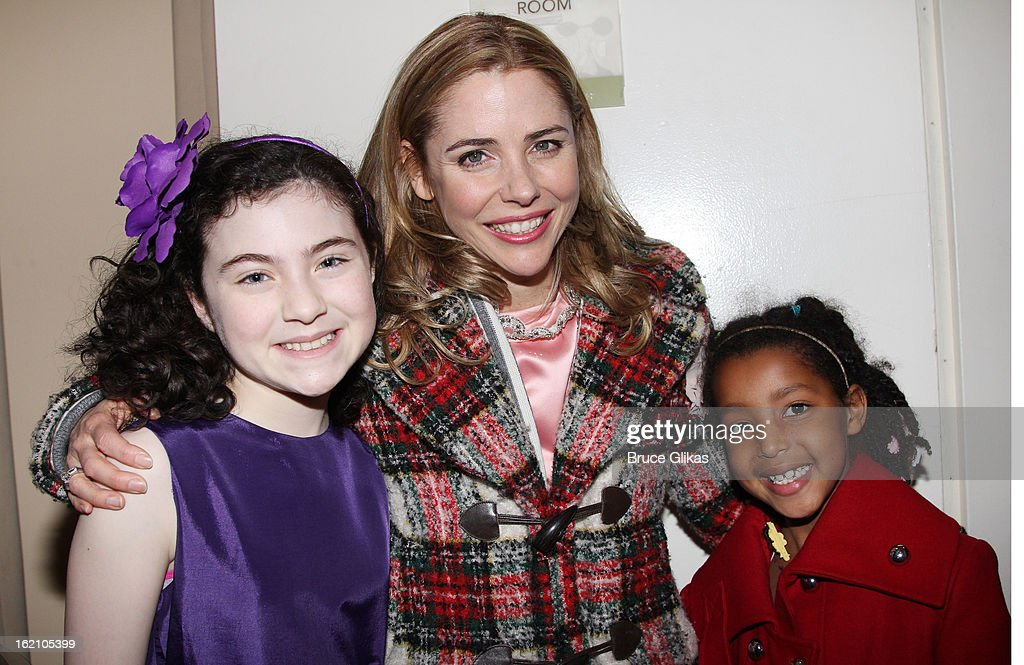 Lilla Crawford, <a gi-track='captionPersonalityLinkClicked' href=/galleries/search?phrase=Kerry+Butler&family=editorial&specificpeople=236088 ng-click='$event.stopPropagation()'>Kerry Butler</a> and daughter Segi pose backstage at 'Ragtime' on Broadway at Avery Fisher Hall on February 18, 2013 in New York City.