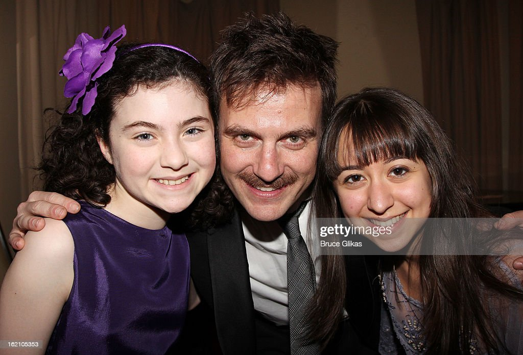 Lilla Crawford, Manoel Felciano and Sarah Rosenthal pose backstage at 'Ragtime' on Broadway at Avery Fisher Hall on February 18, 2013 in New York City.