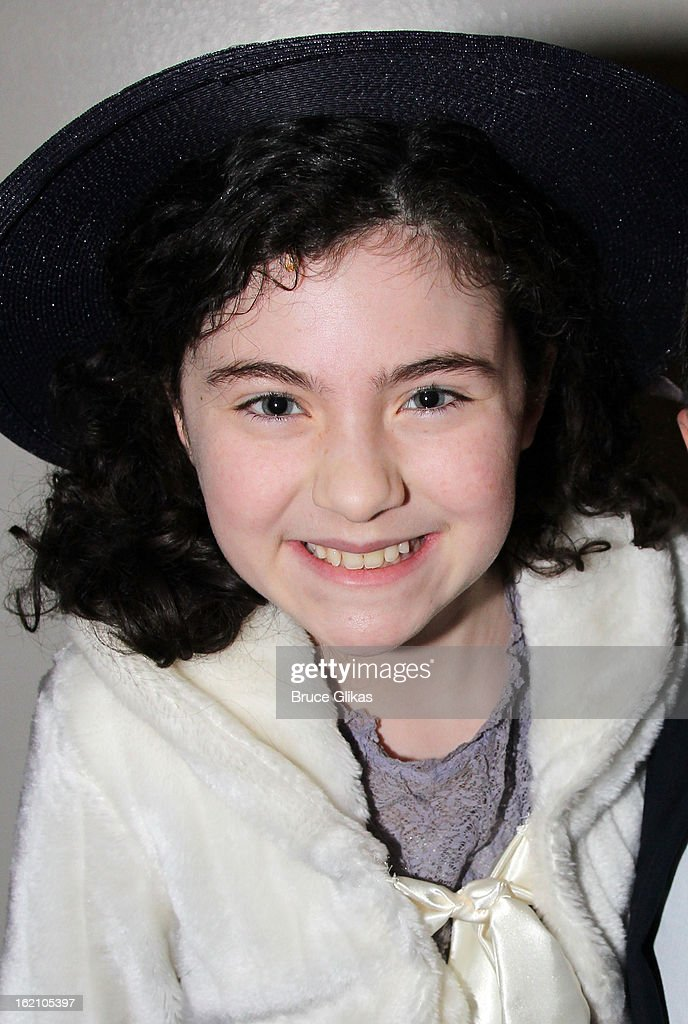Lilla Crawford poses backstage at 'Ragtime' on Broadway at Avery Fisher Hall on February 18, 2013 in New York City.