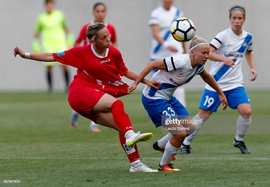 Lilla Nagy #33 of MTK Hungaria FC fights for the ball with Donjeta Haxha (L) of WFC Hajvalia during the UEFA Women's Champions League Qualifying match between MTK Hungaria FC and WFC Hajvalia at Nandor Hidegkuti Stadium on August 22, 2017 in Budapest, Hungary.
