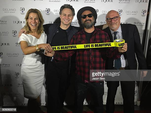 Lilla Soria Jason Binn Mr Brainwash and President of the HFPA Lorenzo Soria circa December 2015 in Miami Florida