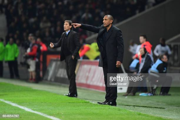 Lille coach Franck Passi and Marseille coach Rudi Garcia during the Ligue 1 match between Lille OSC and Olympique de Marseille at Stade Pierre Mauroy...