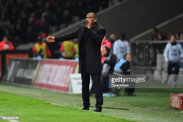 Lille coach Franck Passi during the Ligue 1 match between Lille OSC and Olympique de Marseille at Stade Pierre Mauroy on March 17 2017 in Lille France