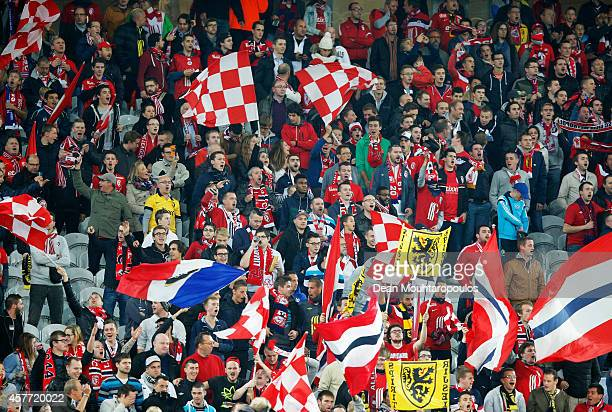 Lille fans show their support during the UEFA Europa League Group H match between LOSC Lille and Everton at Grand Stade Lille Metropole on October 23...