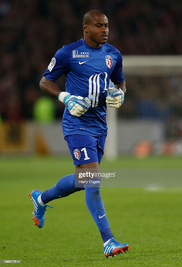 Lille goalkeeper <a gi-track='captionPersonalityLinkClicked' href=/galleries/search?phrase=Vincent+Enyeama&family=editorial&specificpeople=831392 ng-click='$event.stopPropagation()'>Vincent Enyeama</a> in action during the French Ligue 1 match between OSC Lille and AS Monaco at the Grand Stade Metropole Villeneuve-d'Ascq on November 3, 2013 in Lille, France.