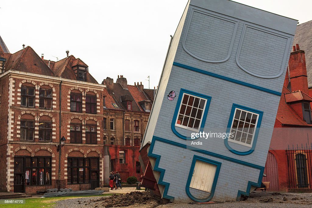 The 'upsidedown house' by JeanFrancois Fourtou was set up in 'ilot Comtesse' district for Lille 3000 Festival