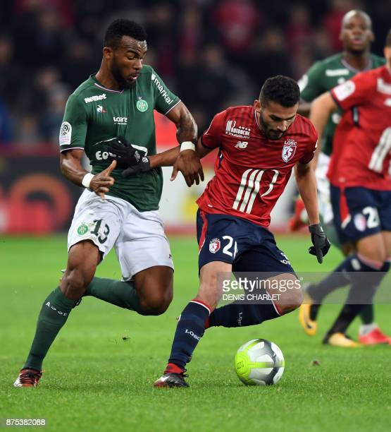 Lille's Brazilian midfielder Thiago Maia vies for the ball with SaintEtienne's Ivorian midfielder Habib Maiga during the French L1 football match...