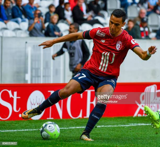 Lille's DutchMorrocan forward Anwar ElGhazi controls the ball during the French L1 football match Lille vs Caen at The Pierre Mauroy Stadium in...