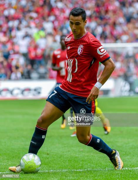 Lille's DutchMorrocan forward Anwar ElGhazi plays the ball during their French L1 football match Lille vs Nantes on August 6 2017 at the Pierre...