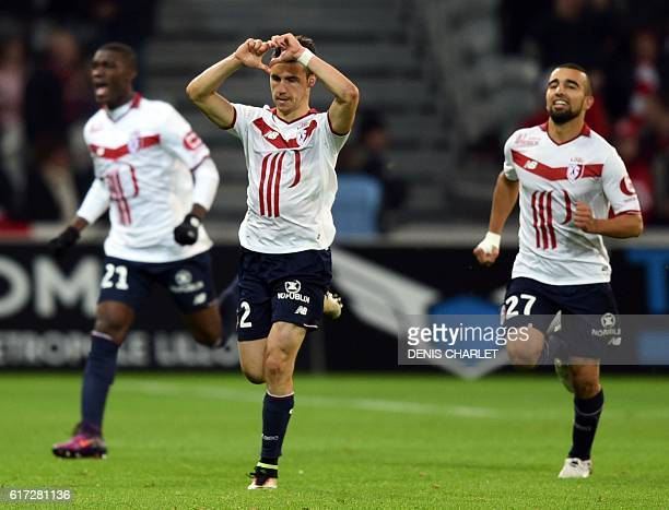 Lille's French defender Sebastien Corchia celebrates after scoring a goal during the French L1 football match between Lille OSC and Bastia at the...