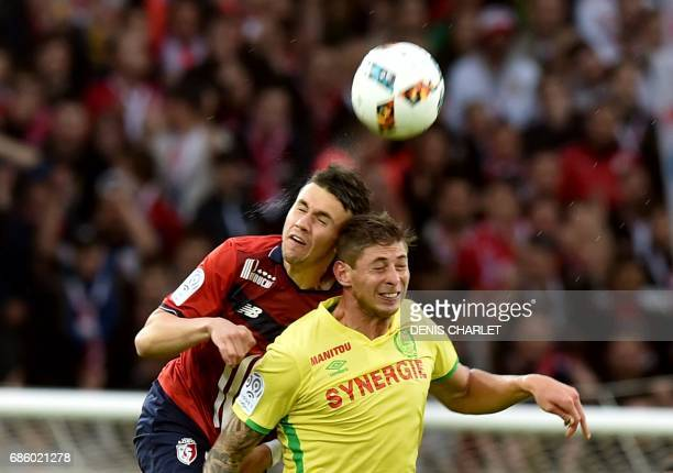 Lille's French defender Sebastien Corchia vies for the ball during the French L1 football match between Lille OSC and Nantes at the PierreMauroy...